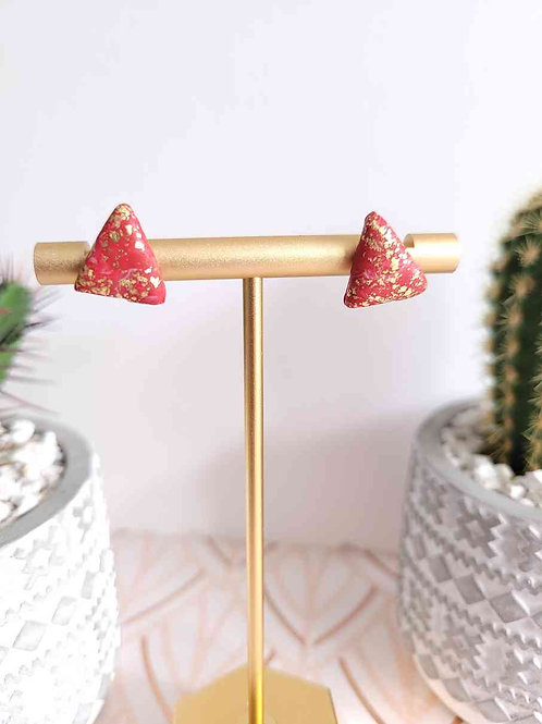 Red and Gold Triangle Polymer Clay Stud Earrings