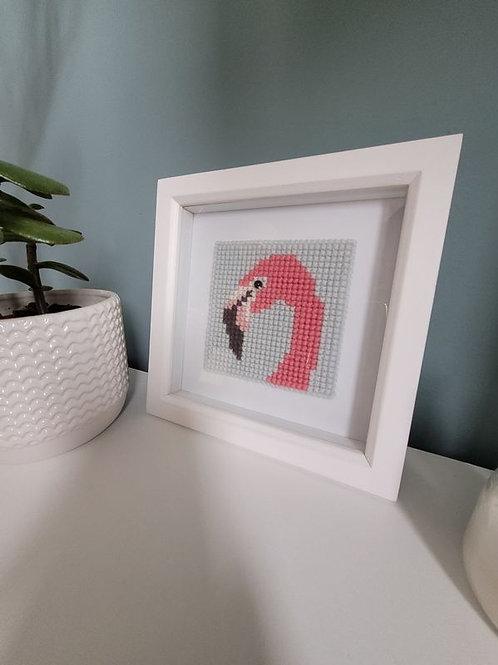 Framed Flamingo Cross Stitch Art
