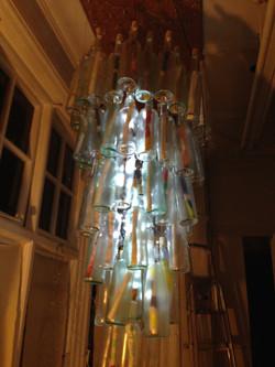 'Peace' in a bottle chandelier