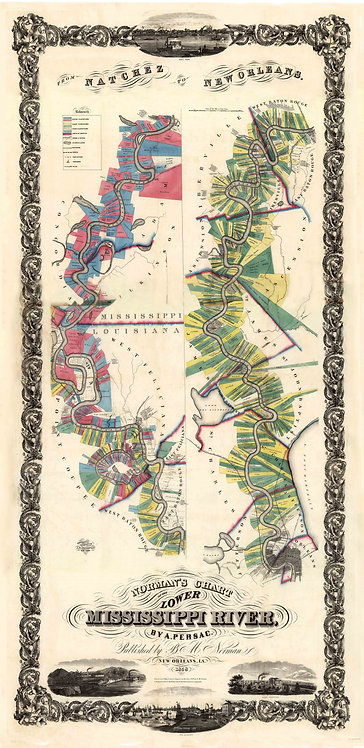 Norman's Chart of the Lower Mississippi by A. Persac