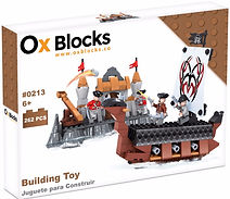 Ox Blocks 0213 - Pirate ship and Island - USA Brand similar to Lego