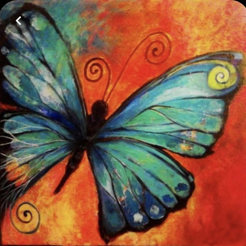 Acrylic butterfly paint night