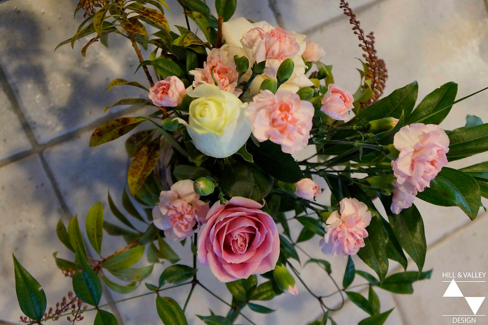 Flower arrangement - white and pink roses, pink carnations
