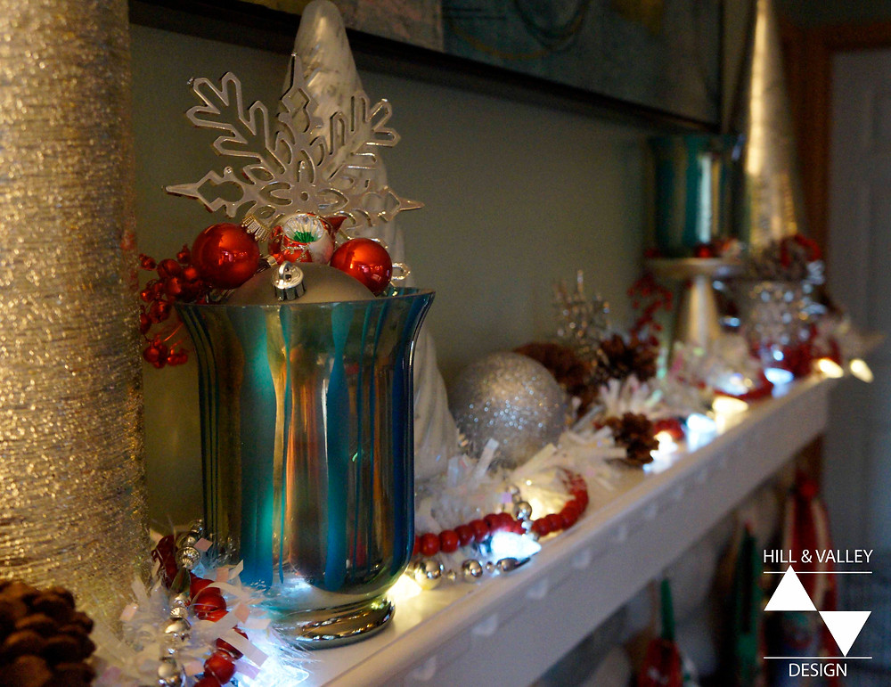 Silver, white, red and turquoise Christmas decorations