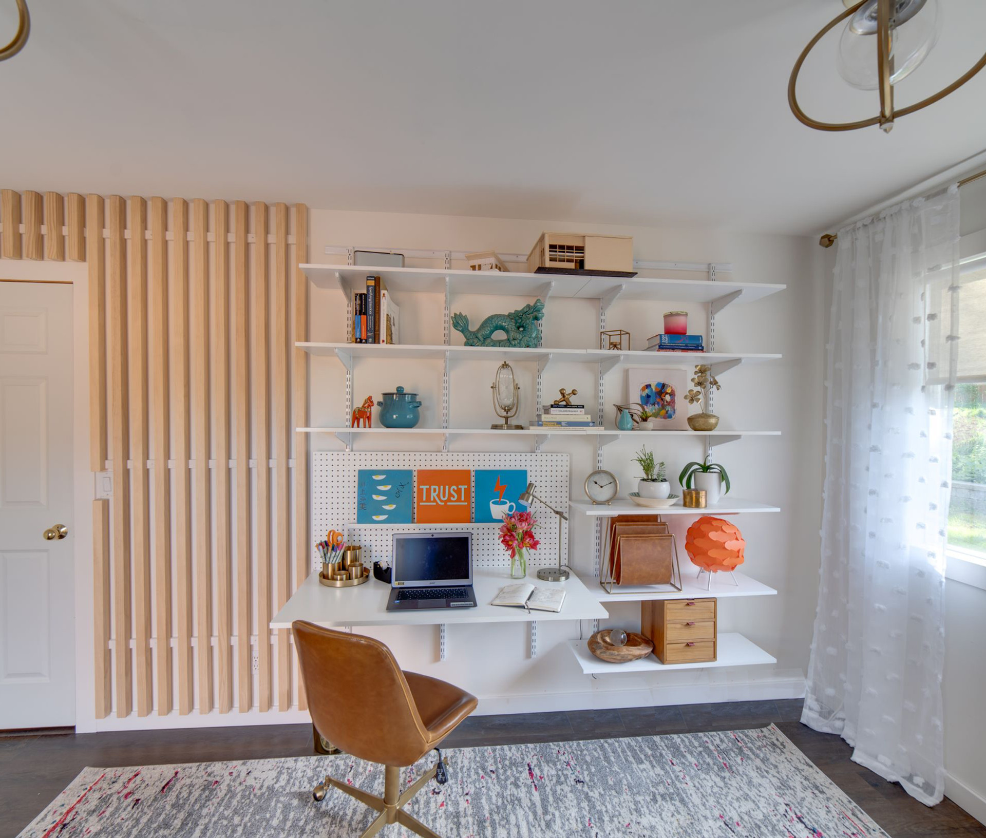 desk and shelf view