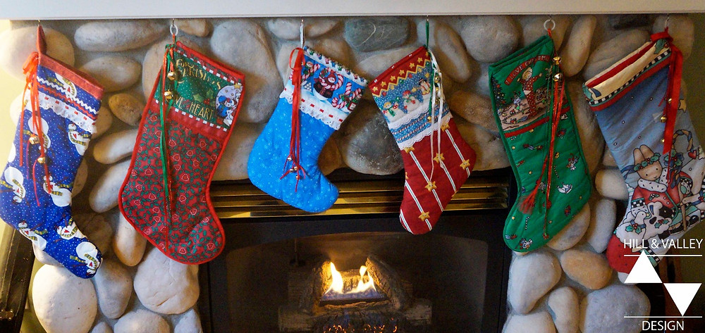 Christmas stockings hung from mantel