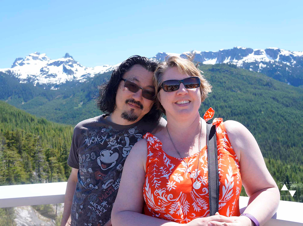 The hubby and I with the mountain view