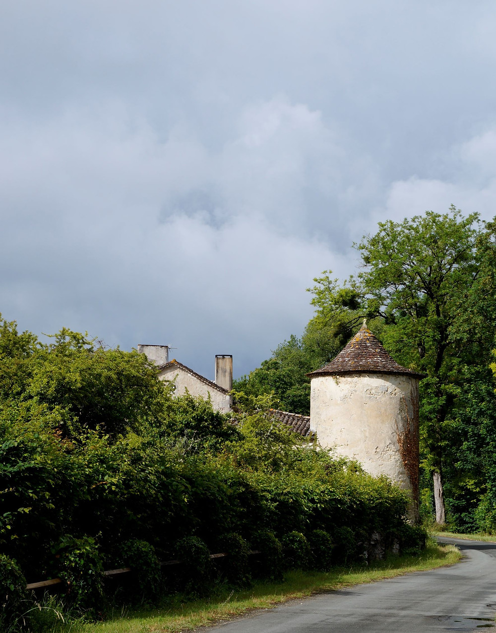 the first visible turret as you approach the château