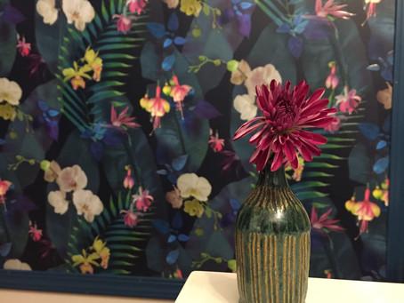 One Room Challenge - Week 4 -Hanging Wallpaper & Trim