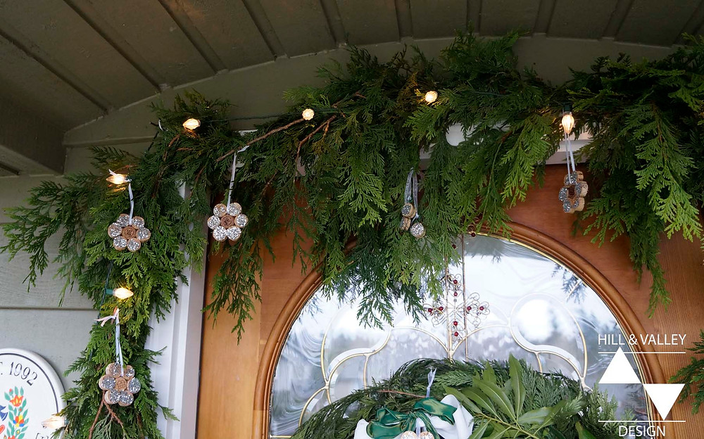 Cedar garland with lights and hand-crafted ornaments