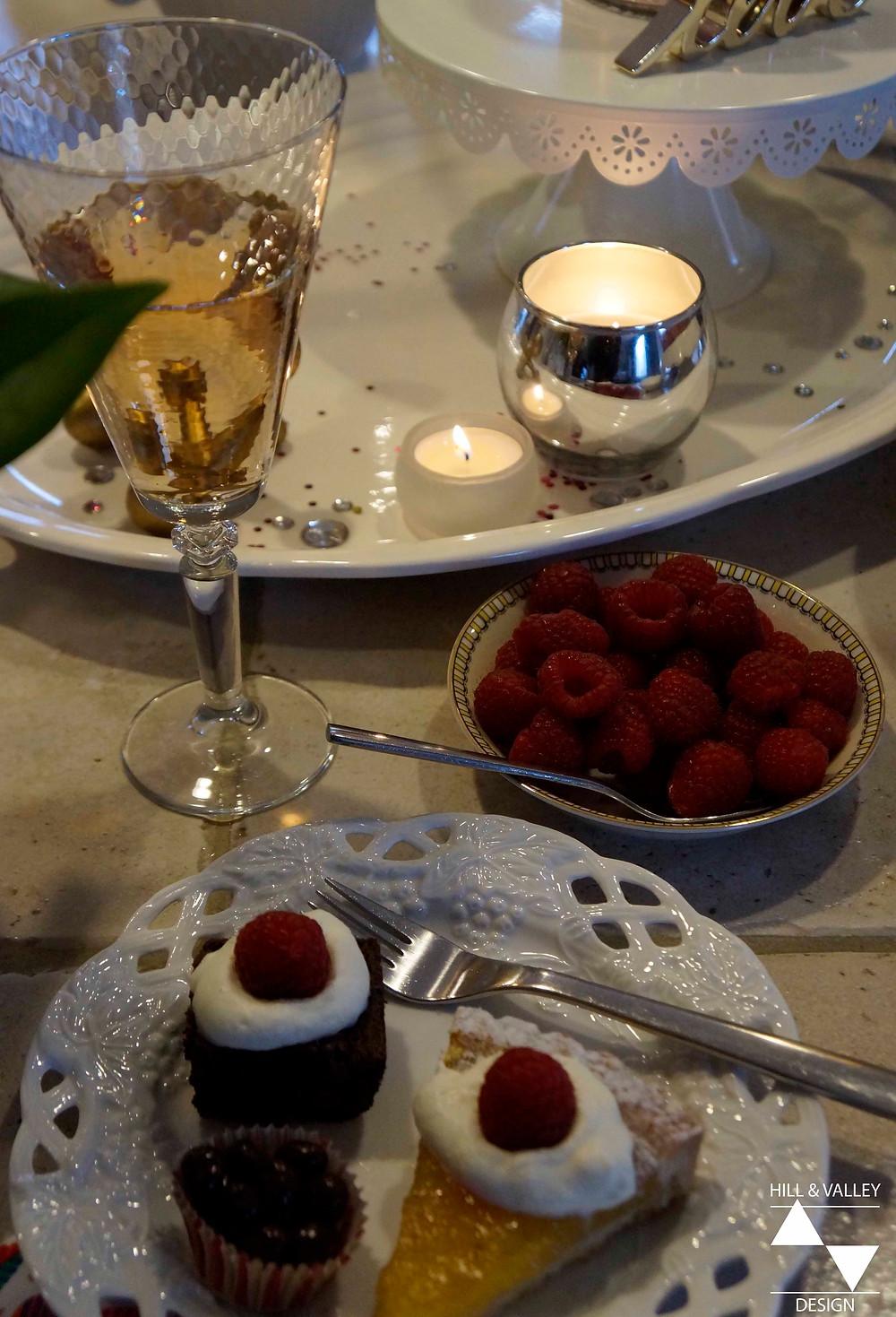 Wine, candles, raspberries, desserts - Valentine's
