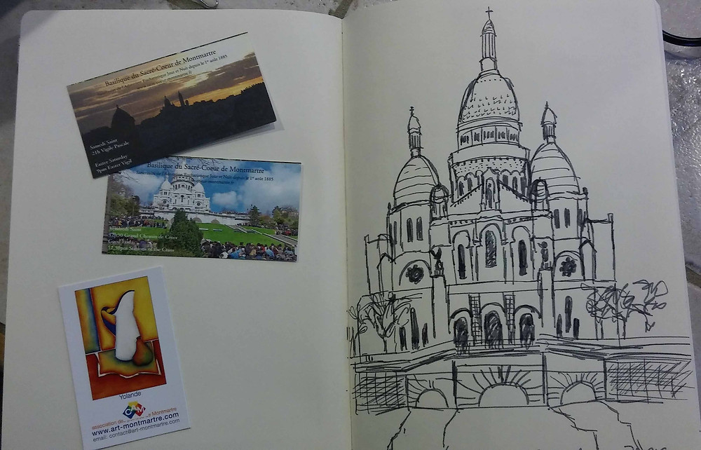 sketch of Sacré-Coeur from a street café