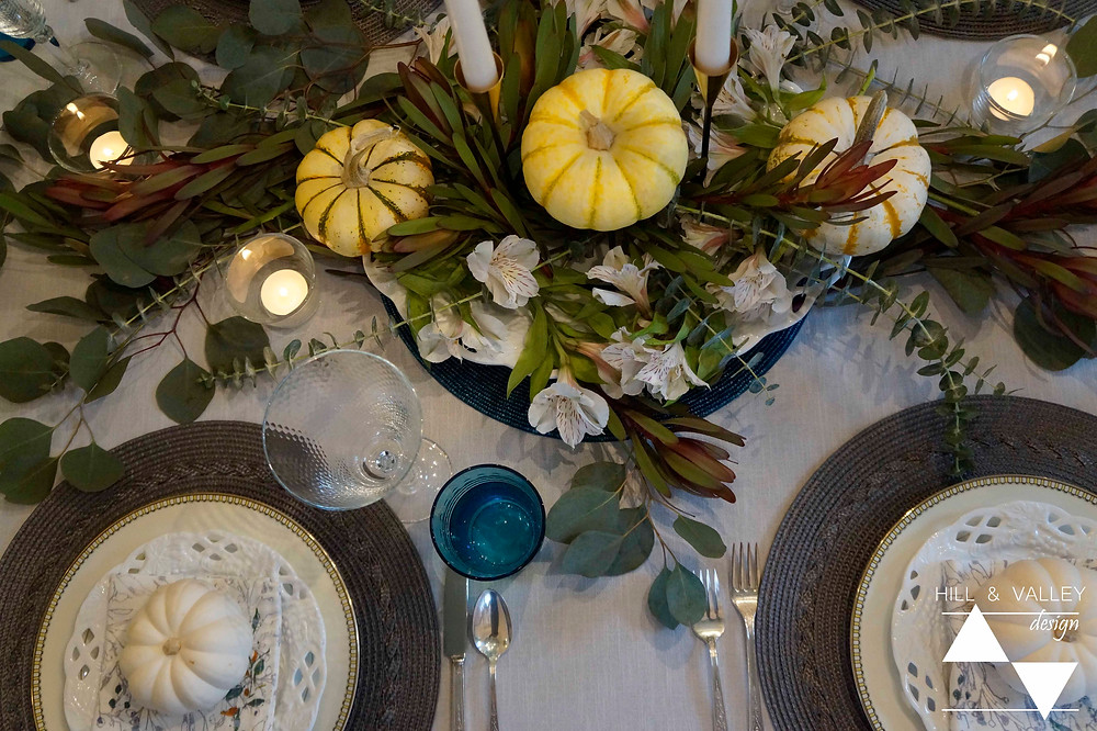 Overview of Thanksgiving table setting