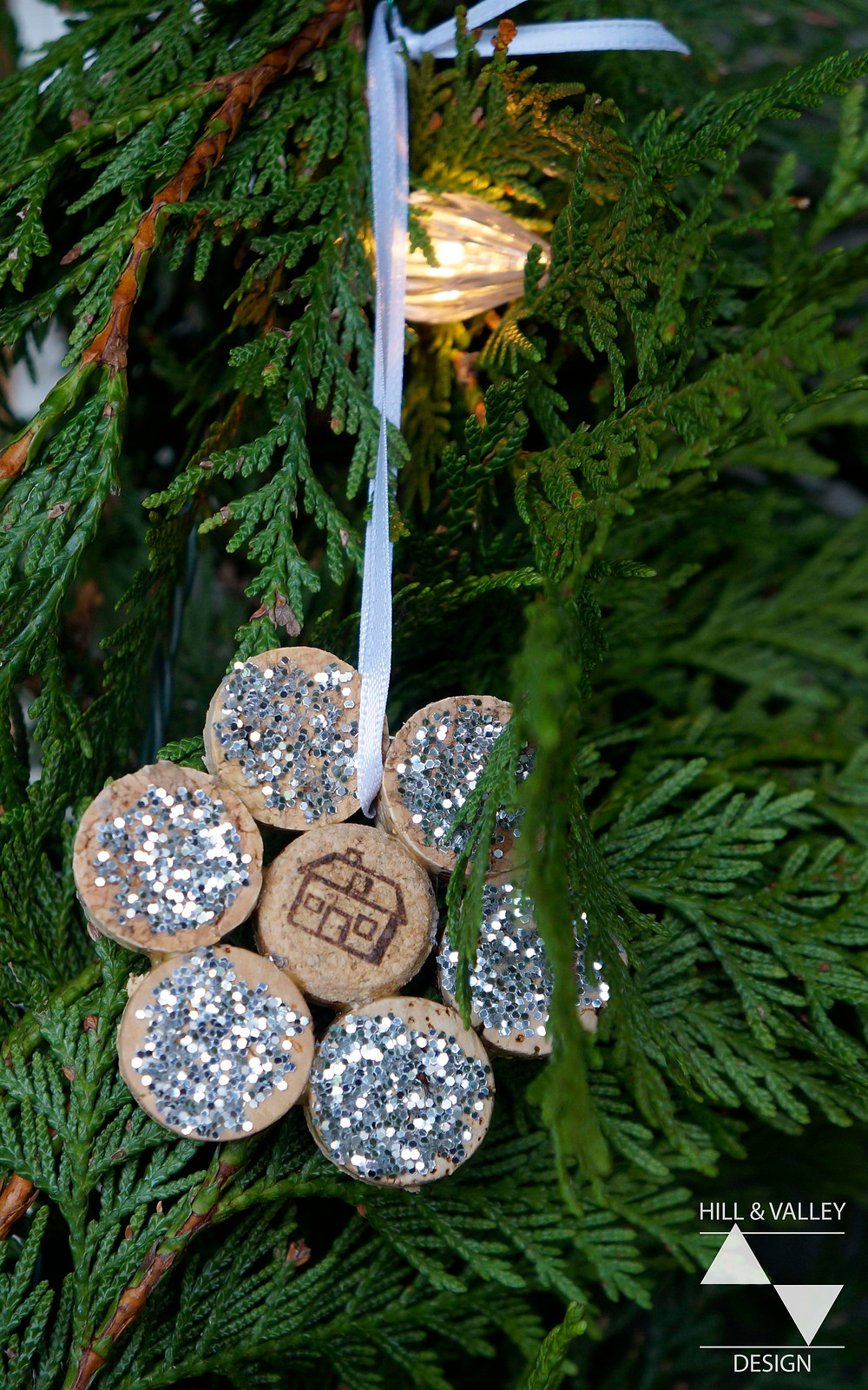 Recycled wine cork ornament, glitter, ribbon, white lights, cedar garland