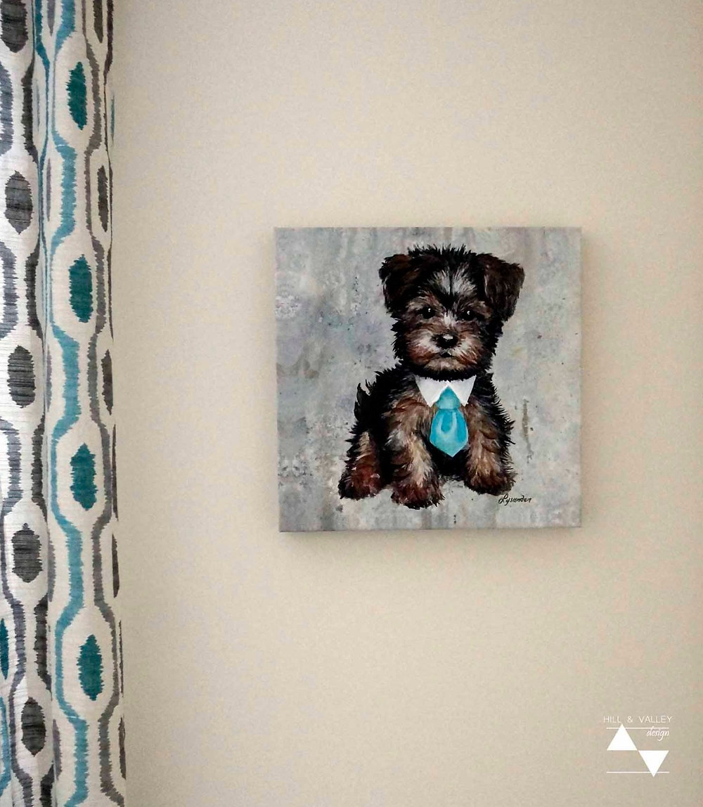 Who doesn't love a cute dog in a tie?  Wall art