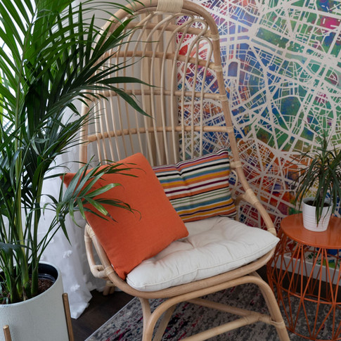 chair and plant at mural