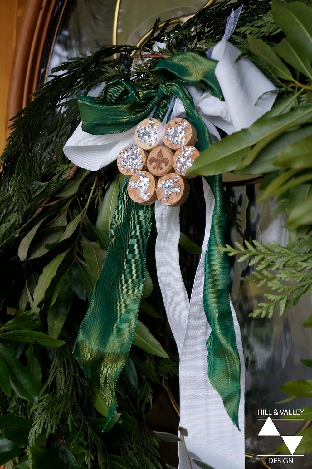 Wreath, cedar, ribbon, glitter, ornament, front door