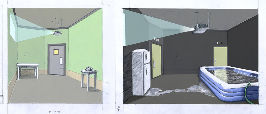 Bruce Charlesworth-Airlock-2004-conceptual drawing-narrative environment with video & sound