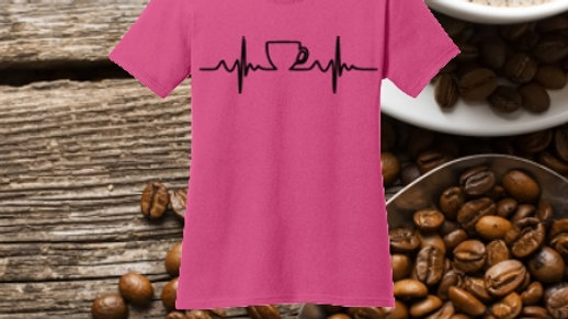 Coffee EKG Core cotton ladies tee