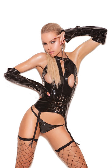 Vinyl cupless bustier with buckle detail