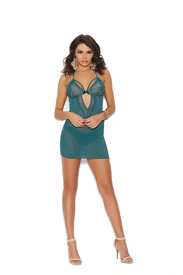 Halter neck mesh and lace babydoll with a front and back keyhole. Matching lace