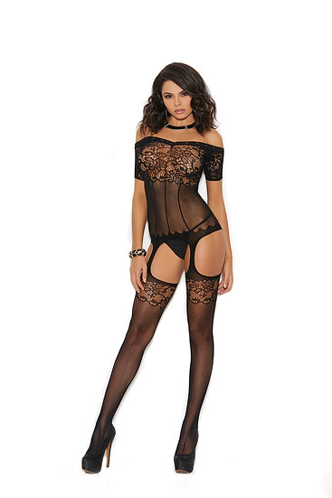Off the Shoulder Crochet Suspender Bodystocking