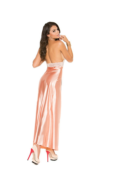 Lace and charmeuse halter neck gown