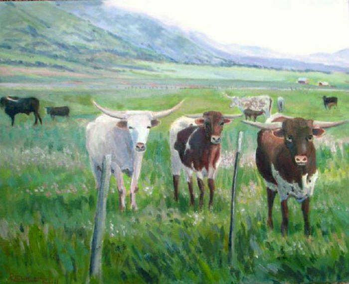 Three Friendy Longhorns