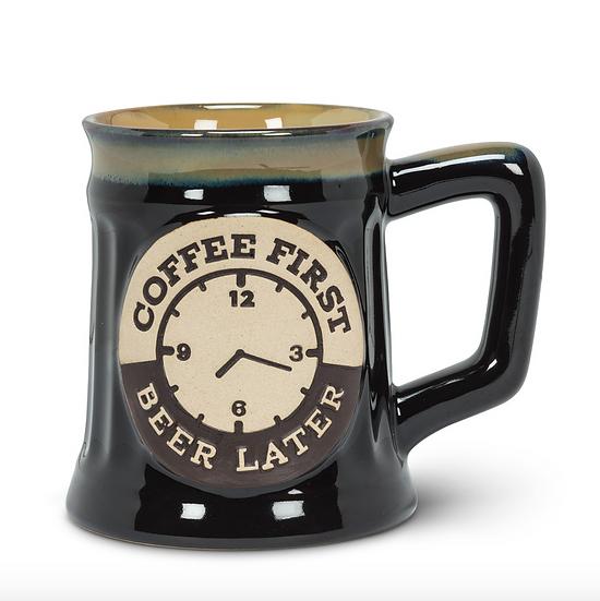 COFFEE FIRST BEER LATER STONEWARE MUG