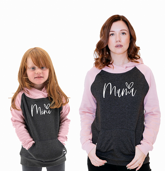 MAMA MINI HEART PULLOVER SET