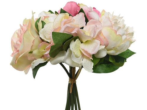 Bouquet de fleurs en polyester (rose doux)