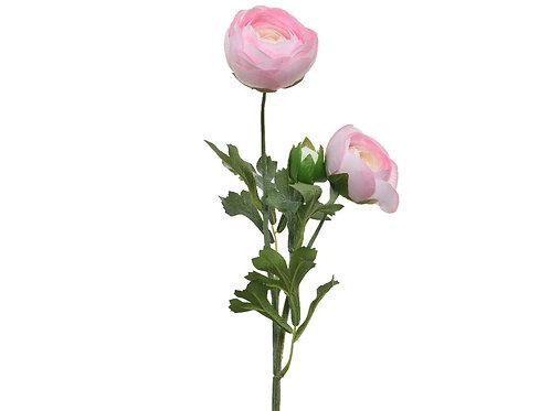 Renoncule en polyester sur tige 2 fleurs - 1 bouton (rose doux)