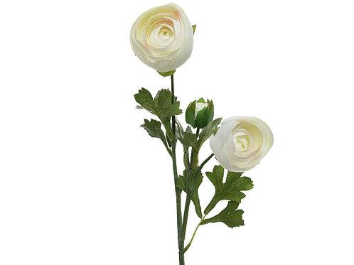 Renoncule en polyester sur tige 2 fleurs - 1 bouton (crème)