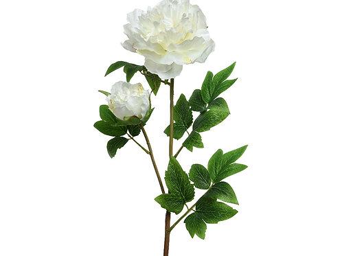 Pivoine polyester sur tige avec 2 fleurs