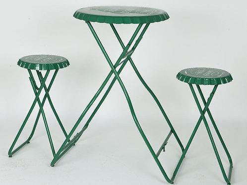Table en fer avec 2 tabourets en forme de capsule