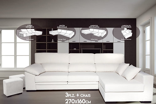 Sofá con chaise longue modelo Full - Big Bang Outlet Baleares