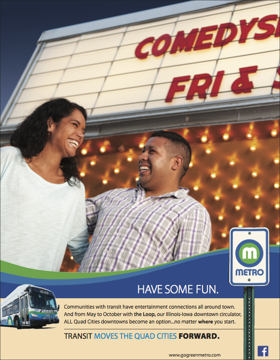 Metro Ad highlighting transit access to local entertainment