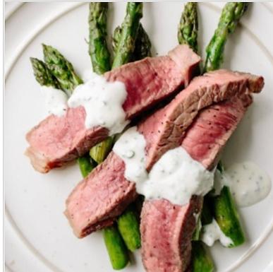 Steak & Asparagus with Garlic Cream Sauce