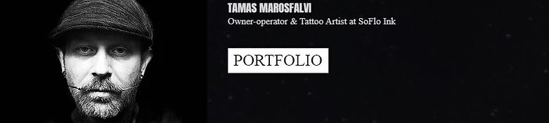 A picture of the owner and tattoo artist, Tamas Marosfalvi, and a link to his portfolio.