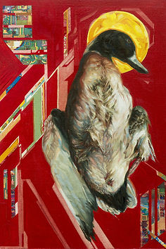 Oil Painting on paper. Duck.