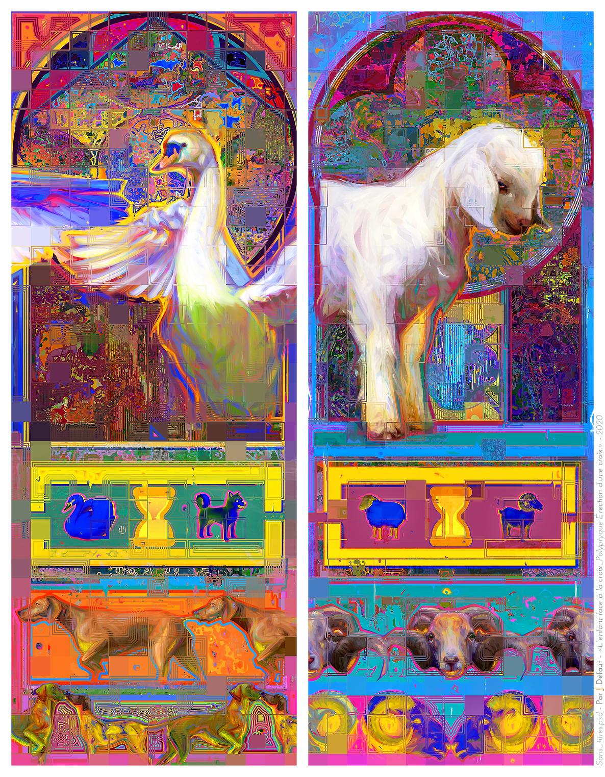 Digital Painting. Concept Art. Swan. Lamb.
