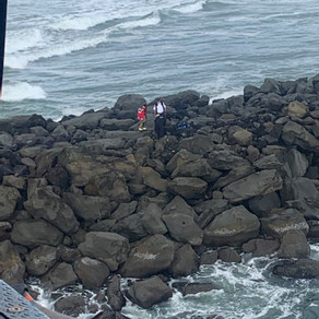 Coast Guard Aircrew Assists Newport Fire & Rescue In Rescuing Injured Woman On North Jetty