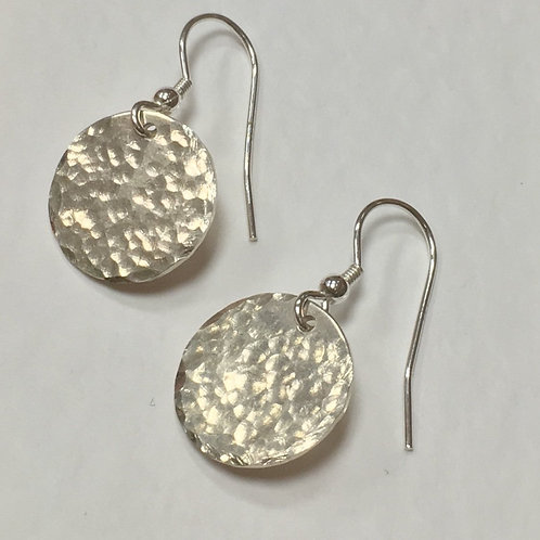 Large Round Disc Earrings - Hammered Texture - 925 Sterling Silver