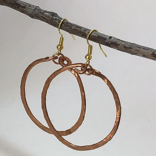 Wide Hoop Drop Earrings - Copper