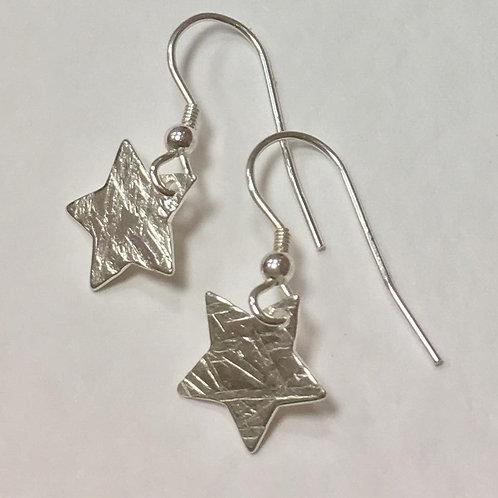 Small Star Drop Earrings - Cross Hatch Texture - 925 Sterling Silver