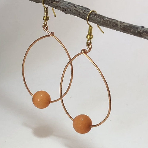Oval Hoop Earrings with 1 Bead  - Copper and Semi Precious Dyed Orange Jade