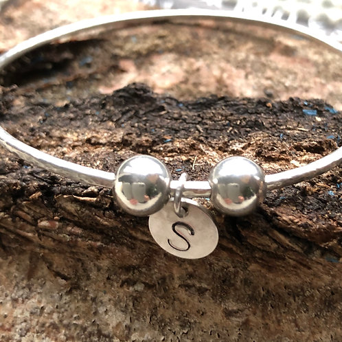 Made To Order -Single Bangle with Round Charm And 2 Beads -925 Sterling Silver