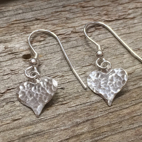 Small Heart Drop Earrings - Hammered Texture - 925 Sterling Silver