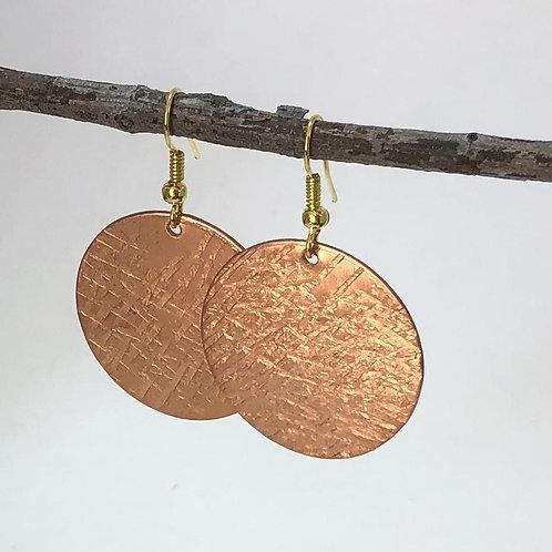 Large Round Discs - Cross Hatch Texture -Copper