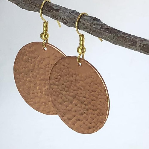 Large Round Discs - Hammered Texture -Copper